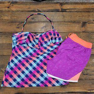 Arizona Pink Blue Tankini with shorts